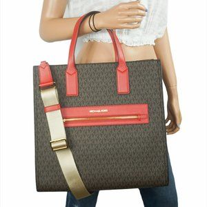 Michael Kors Kenly L NS Tote Bag MK Brown Red